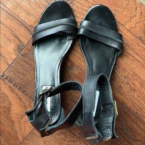 Steve Madden s9 black ankle strap wedge heels